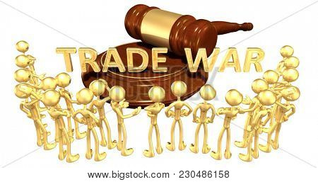 Trade War Concept 3D Illustration With A Group