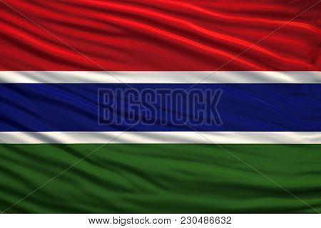 Flag Of Gambia Develops In The Wind