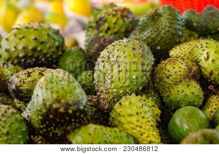 Exotic Tropical Fruit, Soursop Display For Sell In Market.selective Focus Shot. Image May Contain No