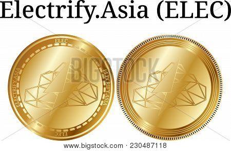 Set Of Physical Golden Coin Electrify.asia (elec), Digital Cryptocurrency. Electrify.asia (elec) Ico