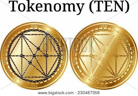Set Of Physical Golden Coin Tokenomy (ten), Digital Cryptocurrency. Tokenomy (ten) Icon Set. Vector
