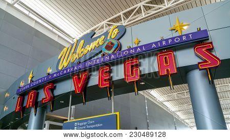 Welcome To Las Vegas Airport Photo- Las Vegas Nevada - October 20, 2017