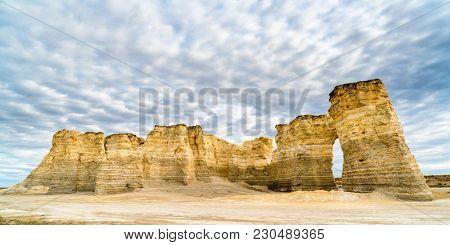 panorama of Monument Rocks  (Chalk Pyramids) in western Kansas