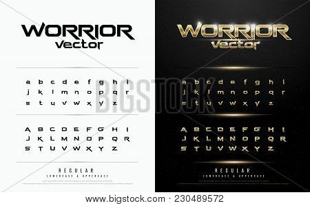 Technology Alphabet Golden Metallic And Effect Designs For Logo, Poster, Invitation. Exclusive Gold