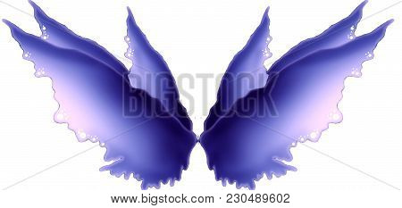 Digitally Drawn Fairy Wings On A White Background.