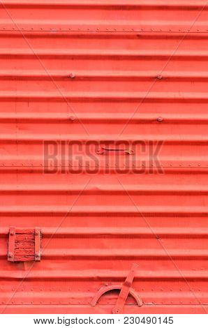 Vintage Train Carriage Door Detail With Lock And Intense Red Texture.