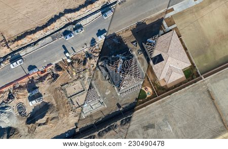Drone Aerial View Cross Section of Home Construction Site.