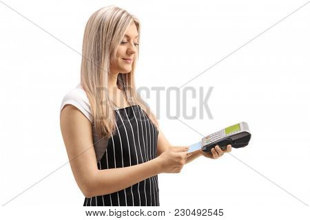Waitress inserting a credit card in a payment terminal isolated on white background
