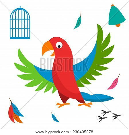Parrot Bird Cell Vector Illustration Wild Animal Characters Cute Fauna Tropical Feather Pets Backgro