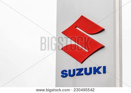 Northampton Uk February 03 2018: Suzuki Logo Sign Stand In Northampton Town Centre.