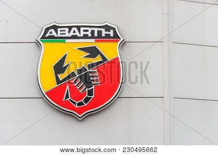 Northampton Uk February 03 2018: Abarth Fiat Logo Sign Stand In Northampton Town Centre.