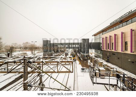 Northampton, Uk - Mar 03, 2018: Cloudy Winter Snowy Day View Of New Northampton Train Station.