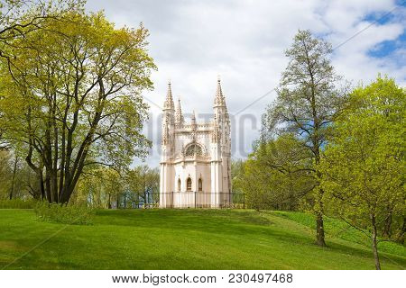 Saint Petersburg, Russia - May 26, 2017: The Alexander Nevsky Gothic Chapel On A Cloudy May Day. Par