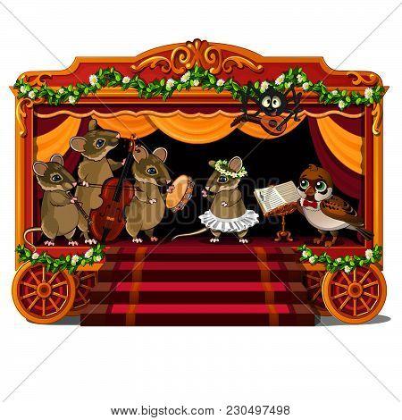 Vocal-instrumental Ensemble Of Wild Animals. Concert. Vector Illustration.