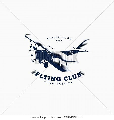 Biplane Logo Template Design On A White Background. Vector Illustration.