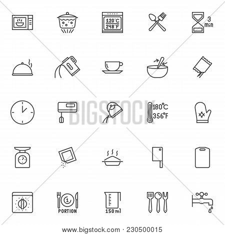 Cooking Instructions And Kitchenware Outline Icons Set. Linear Style Symbols Collection, Line Signs