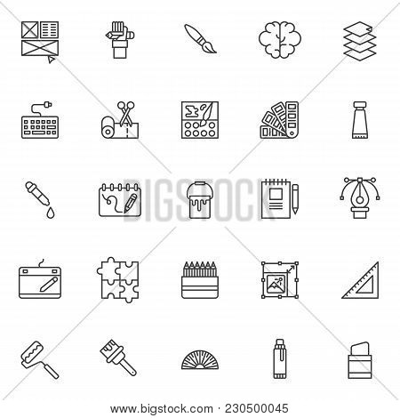 Drawing Elements Outline Icons Set. Linear Style Symbols Collection, Line Signs Pack. Vector Graphic