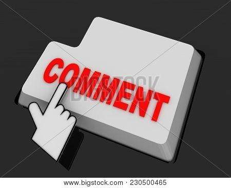 Hand Mouse Cursor Clicks The Comment Button. 3d  Rendered Illustration