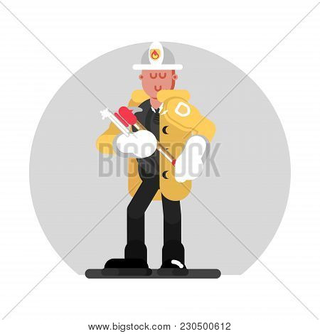 Fireman Standing With Axe. Vector Illustration, Eps 10
