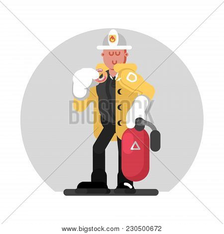 Fireman Standing With Fire Extinguisher. Vector Illustration, Eps 10