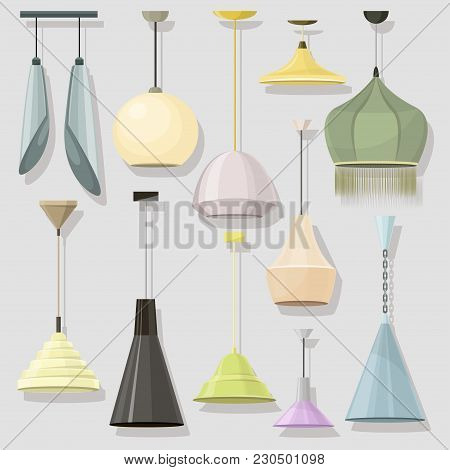 Lamps Sign Set For Interior. Electricity Floor Lamp And Table Lamps Concept. Home Decoration Lamp Ob