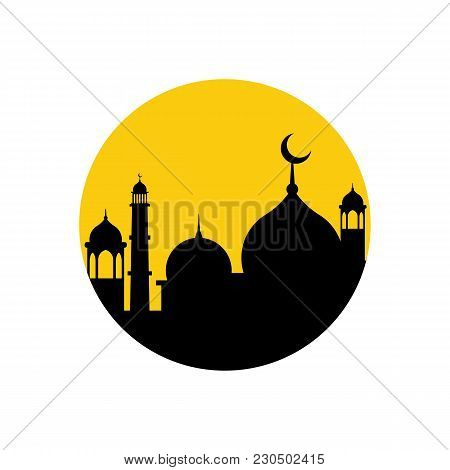 Muslim Mosque On Clouds With Month Icon. Arabic Mosque Masjit. Islam Minarets Flat Logo. Vector Flat
