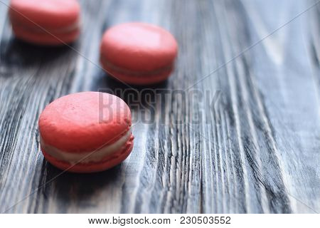 Sweet And Colourful French Macaroons On Table