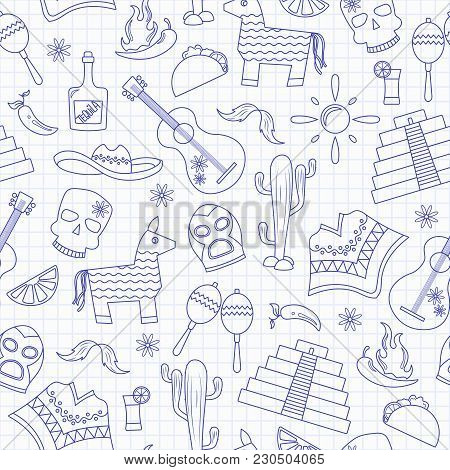 Seamless Pattern On The Theme Of Recreation In The Country Of Mexico, Contour Icons ,blue  Contour