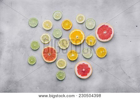 Overhead View Sliced Citrus Fruit White Background Flat Lay