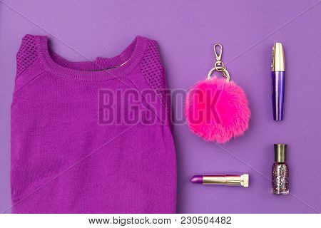 Purple Sweatshirt And Accessories On A Ultra Violet Background. Flat Lay