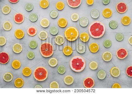 Summer Background Top View Sliced Citrus Fruit Light Background