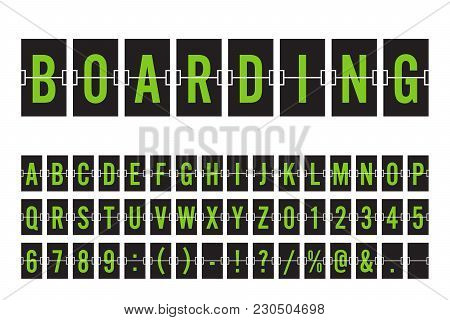 Airport Mechanical Flip Board Panel Font - Green Font On Dark Background Vector Illustration