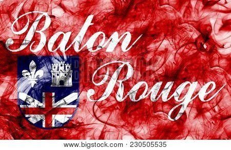 Baton Rouge City Smoke Flag, Louisiana State, United States Of America