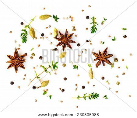 Set Of Spices On White Background, Top View. Aromatic Seasonings With Anise And Cardamom