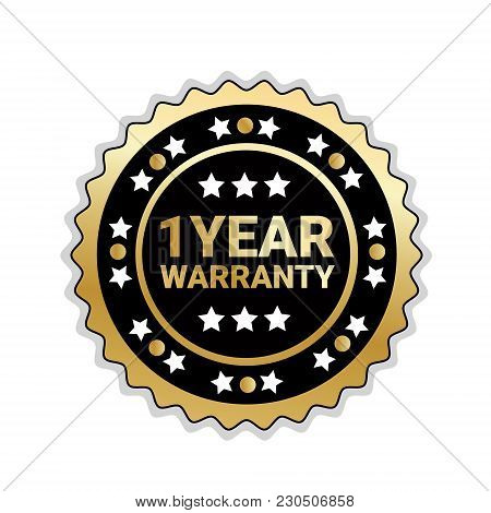 Golden Seal 1 Year Warranty Sign Isolated Badge Icon Vector Illustration