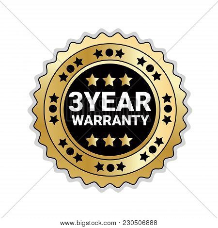 Badge Isolated With 3 Years Of Warranty Sign Golden Mark Icon Vector Illustration