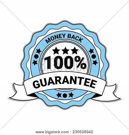 Money Back With 100 Percent Guarantee Emblem Blue Medal With Ribbon Isolated Vector Illustration