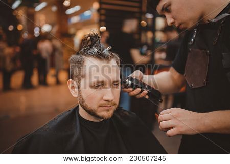 Barber Shop. Barber Shears Client With Hair Machine. Barbershop