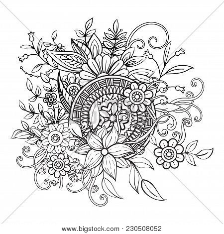 Floral Pattern In Black And White. Adult Coloring Book Page With Flowers And Mandala. Art Therapy, A