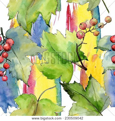 Currant Leaves Pattern In A Watercolor Style. Aquarelle Leaf For Background, Texture, Wrapper Patter