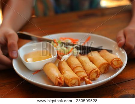 Top View Photo Of Roasted Spring Rolls With Shrimps