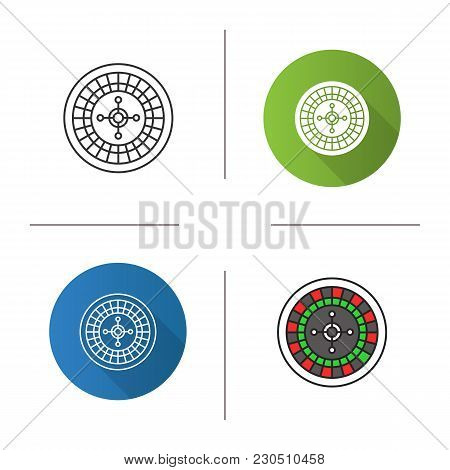 Roulette Icon. Flat Design, Linear And Color Styles. Casino. Isolated Vector Illustrations