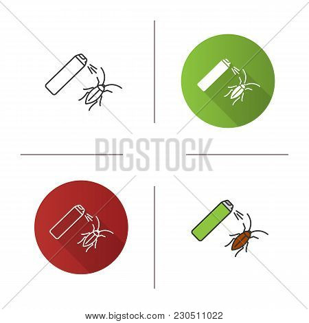 Roaches Bait Icon. Flat Design, Linear And Color Styles. Cockroach Repellent Spray. Pest Control. Is
