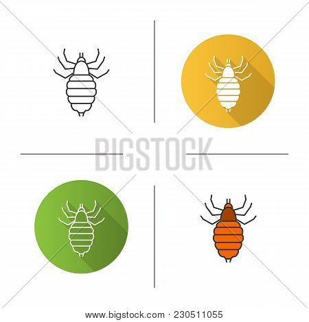 Louse Icon. Flat Design, Linear And Color Styles. Human Parasite. Isolated Vector Illustrations