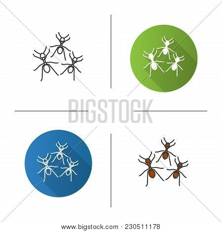 Ants Icon. Flat Design, Linear And Color Styles. Isolated Vector Illustrations