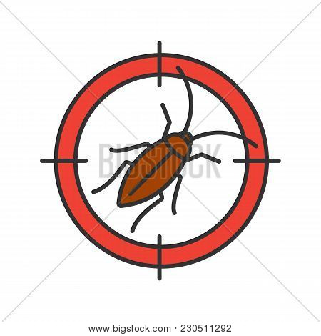 Cockroach Target Color Icon. Roach Repellent. Pest Control. Isolated Vector Illustration