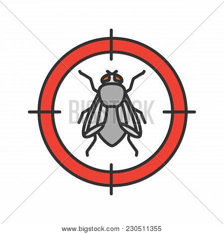 Housefly Target Color Icon. Flying Insects Repellent. Isolated Vector Illustration