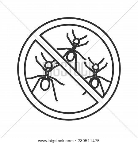 Stop Ants Sign Linear Icon. Insects Repellent. Pest Control. Thin Line Illustration. Contour Symbol.