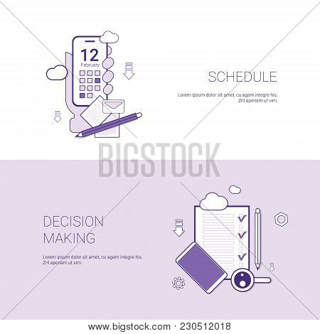 Schedule And Decision Making Concept Template Web Banner With Copy Space Vector Illustration