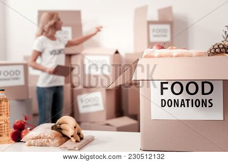Let Me Check. Silhouette Of Attentive Blonde That Being In Volunteer Uniform And Holding Folder With